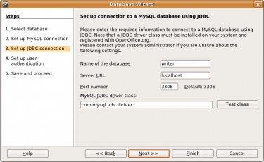 Создание соединения JDBC в OpenOffice.org