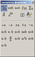 Панель Элементы формулы